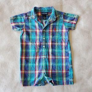 Ralph Lauren Blue Plaid Cotton Onesie 6-12M
